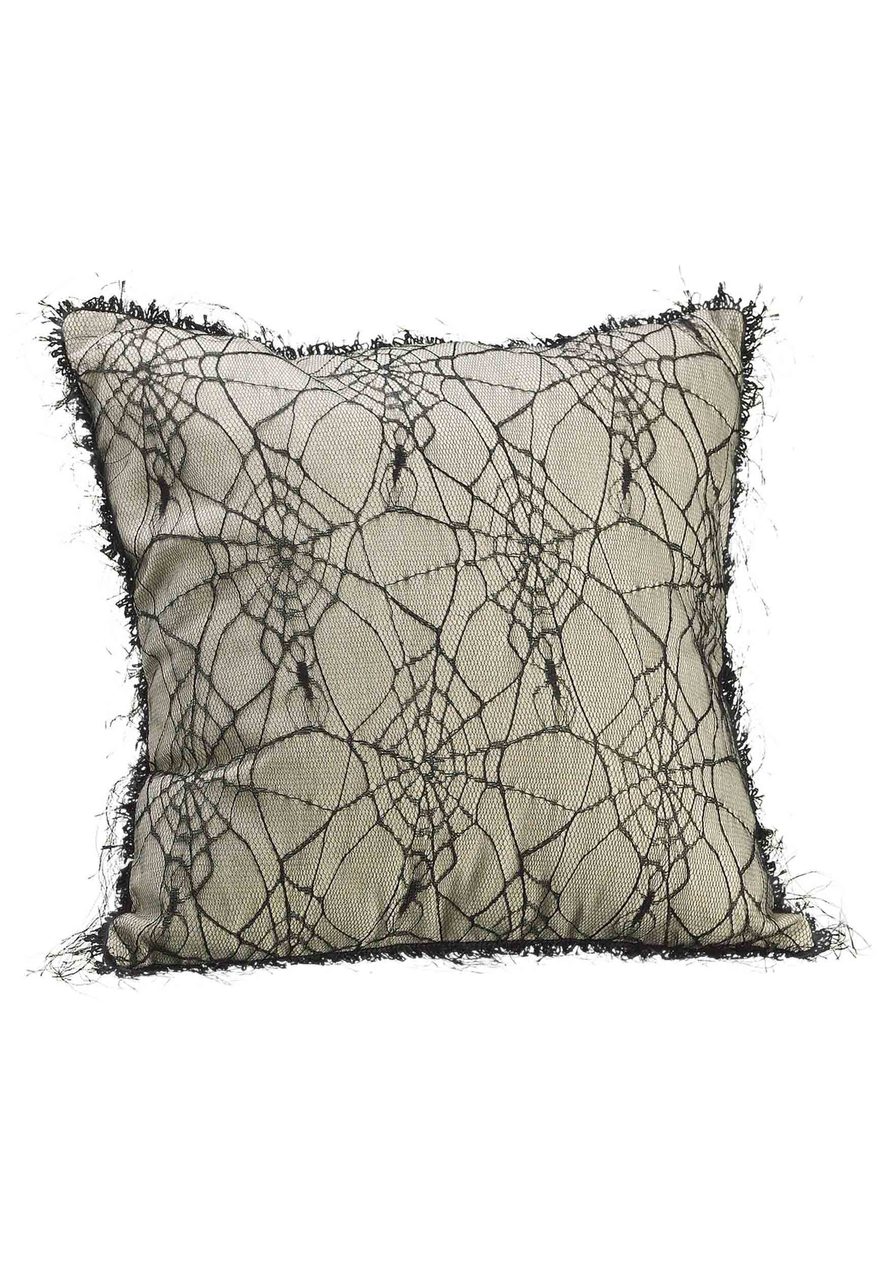 "16"" Spider Web Linen Pillow"