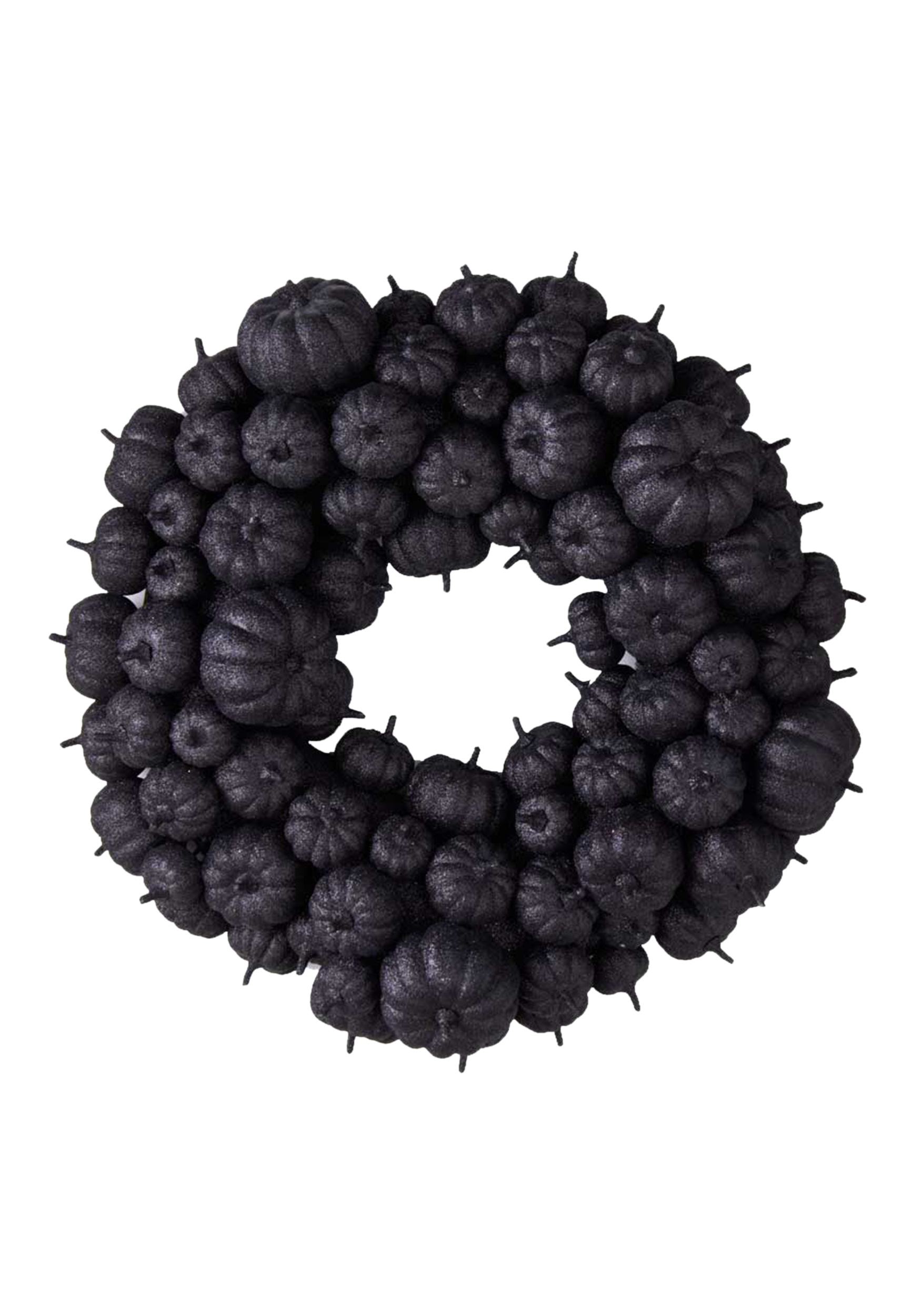 "24"" Black Glitter Pumpkin Wreath"