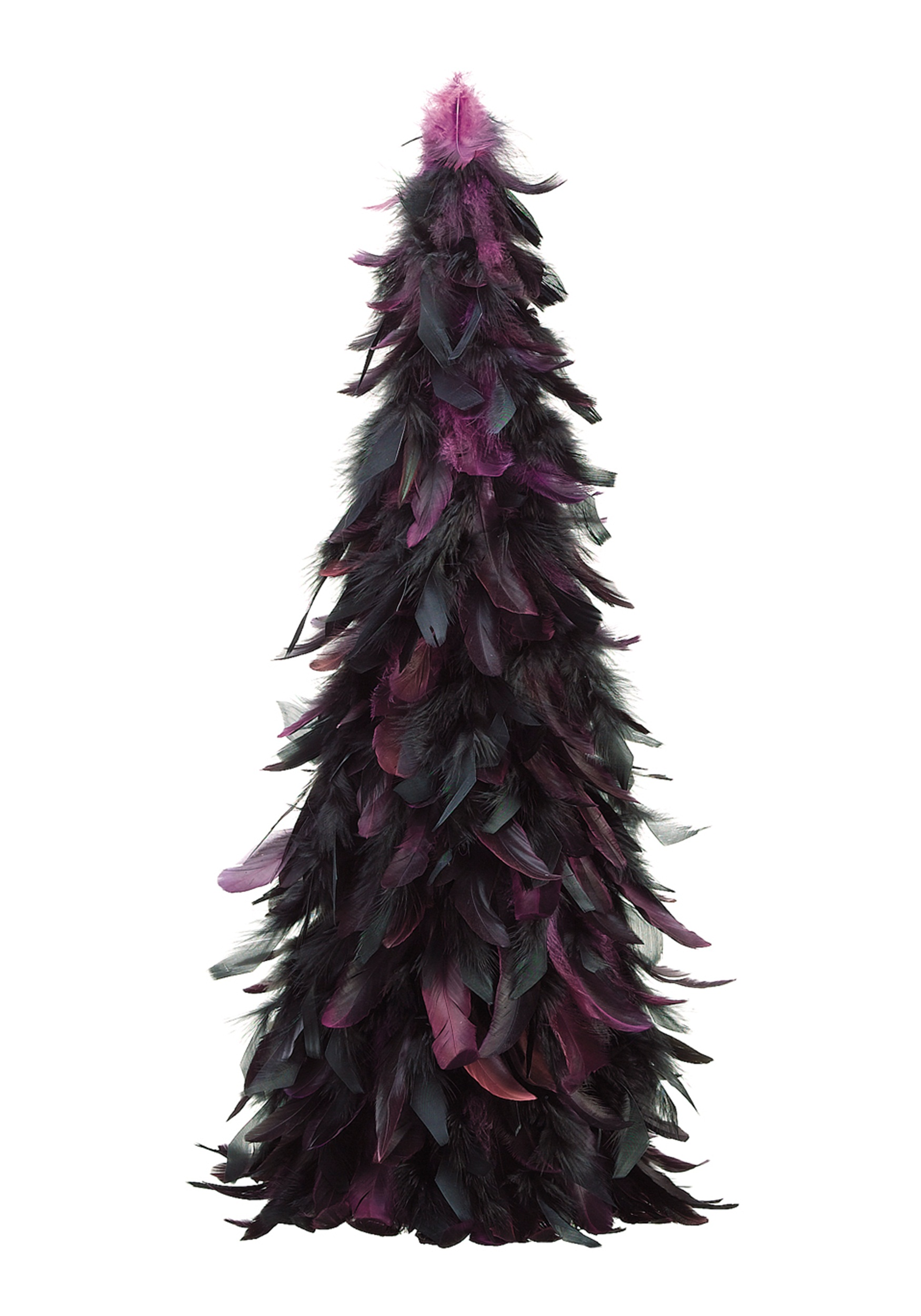 24 Inch Feather Cone Topiary Black and Purple
