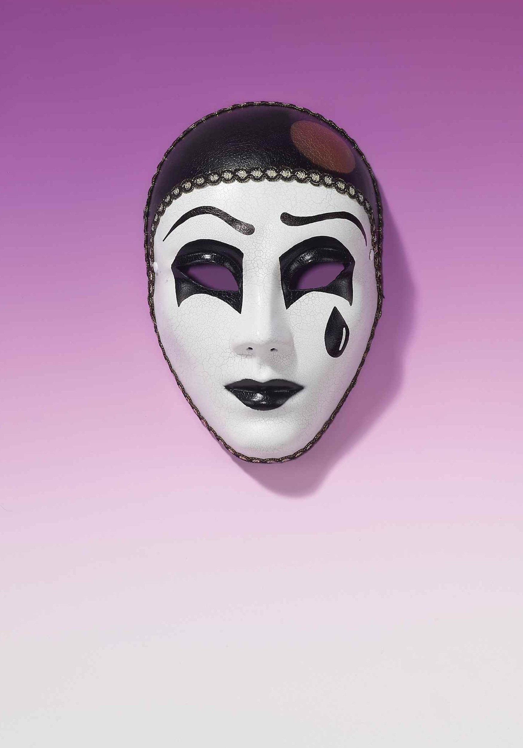 Adult Black And White Pierrot Mask