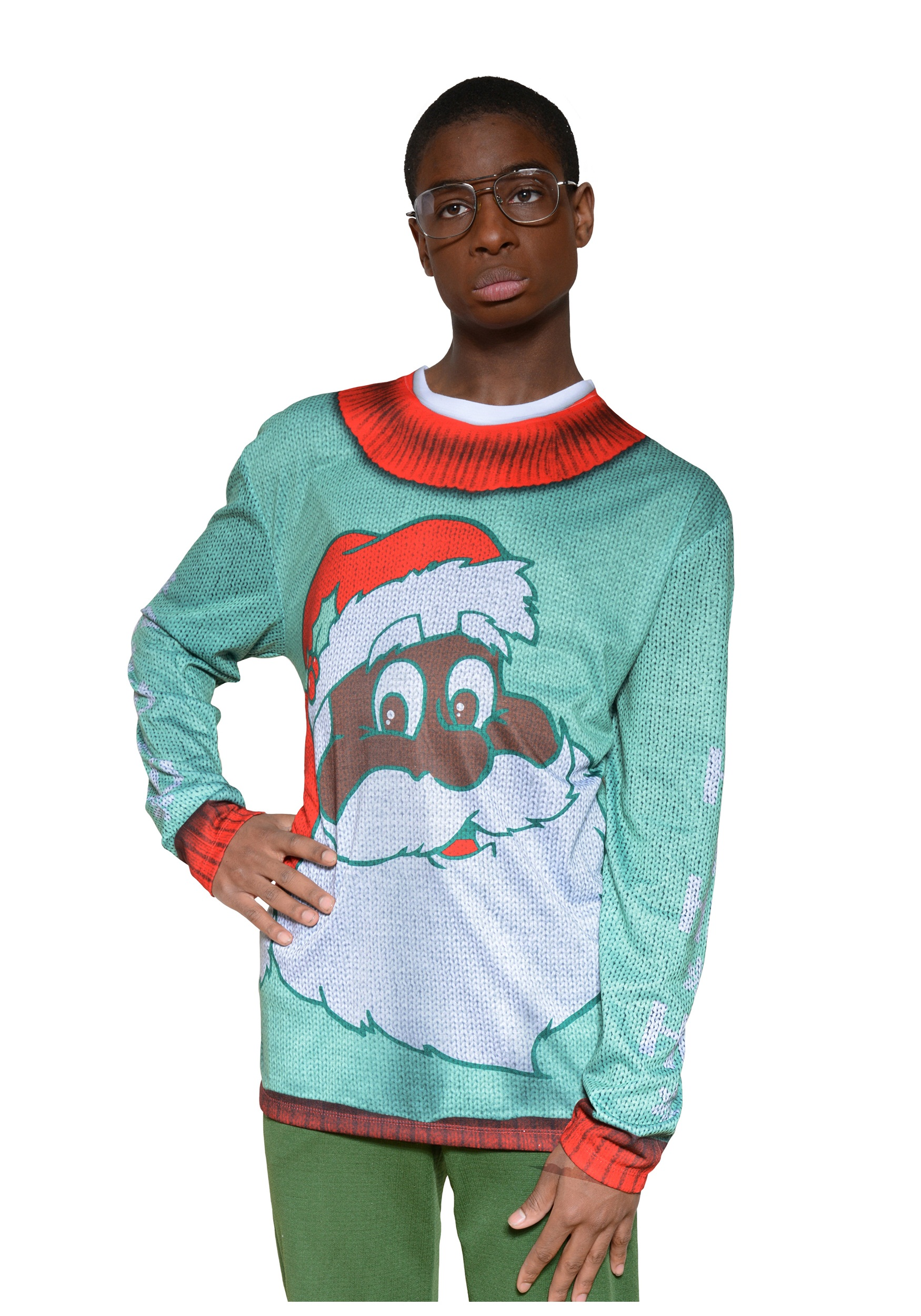 Adult Black Santa Christmas Sweater Shirt