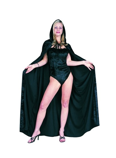 Adult Black Velvet Full-Length Hooded Cape