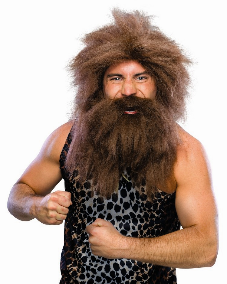 Adult Caveman Wig and Beard - Brown