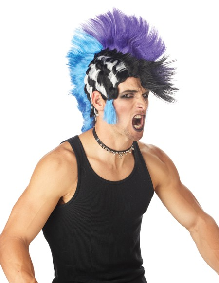 Adult Checkered Mohawk Wig