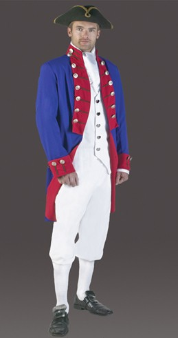 Adult Colonial Soldier Costume (Blue/Red)