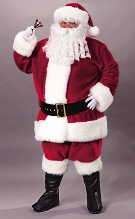 Adult Crimson Premium Plush Santa Suit Costume