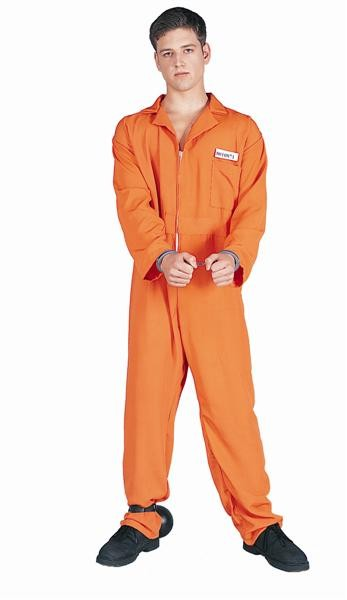 Adult Escaped Convict Costume - Orange Overall