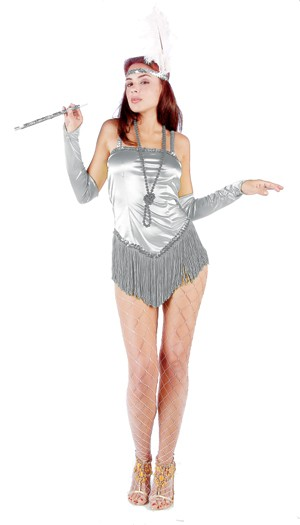 Adult Fringed Satin Sexy Flapper Costume - Silver