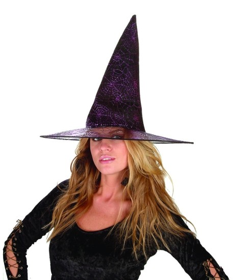 Adult Glitter Purple Spider Witch Hat