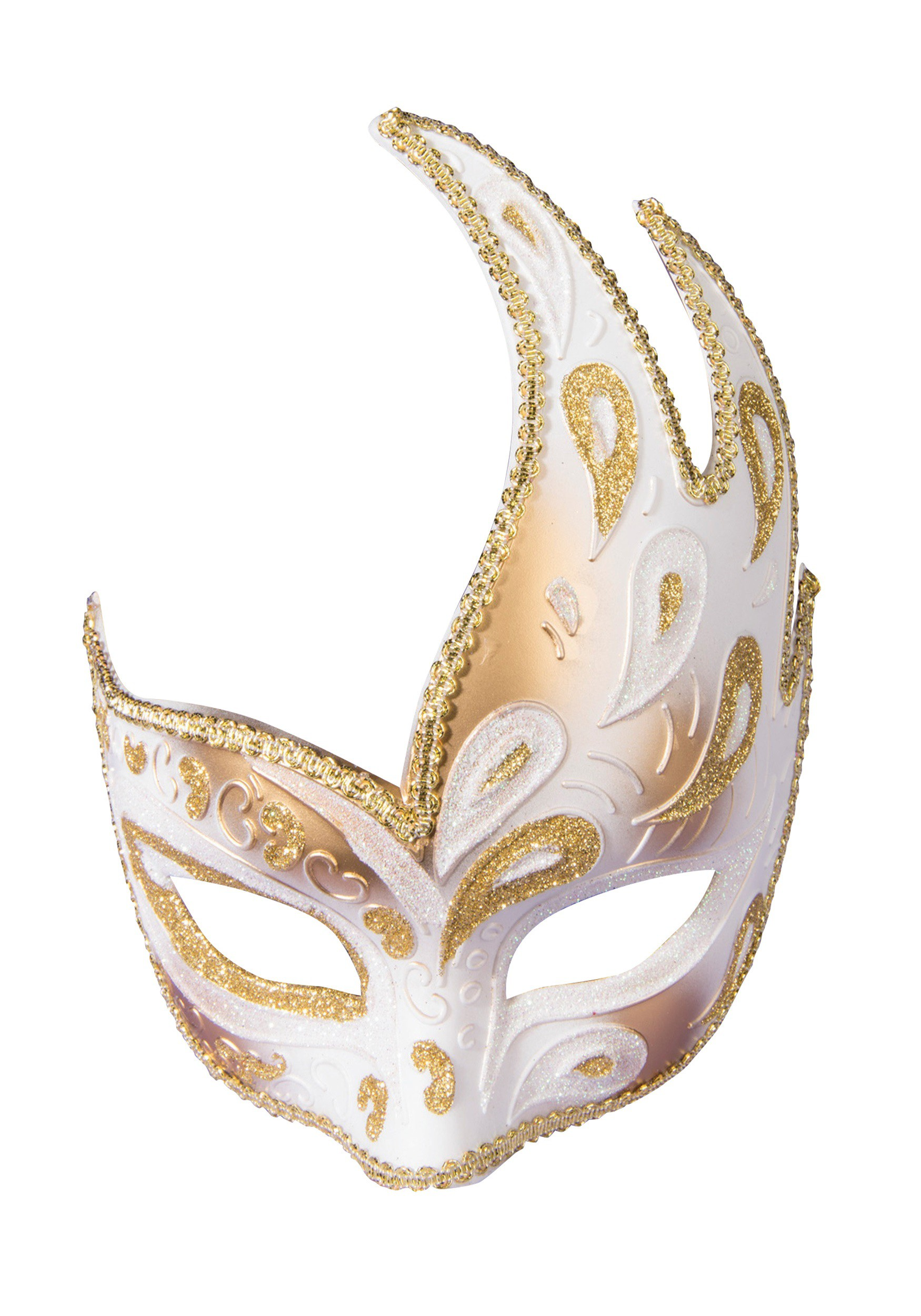 Adult Gold Half Mask w/Ribbon