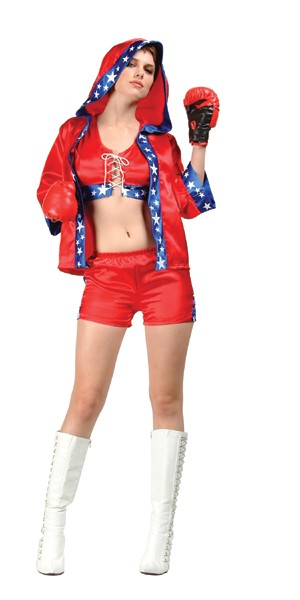 Adult Knock Out Sexy Boxer Costume - Red