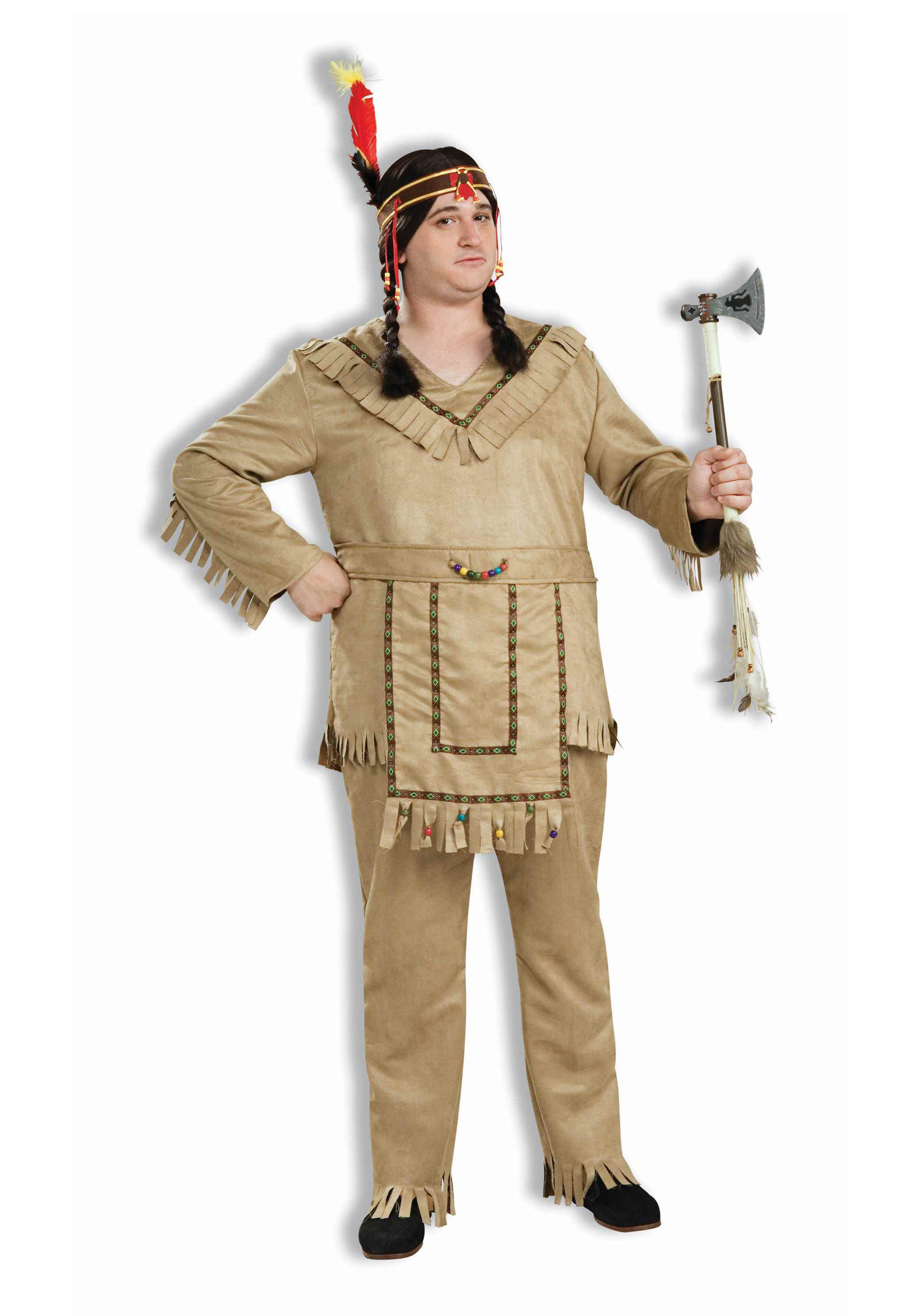 Adult Plus Size Native American Brave Costume