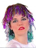 Adult Rainbow Tinsel Wig