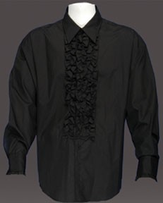 Adult Ruffled Tuxedo Shirt - Black