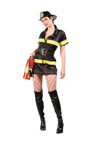 Adult Sexy Fire Fighter Costume - Black