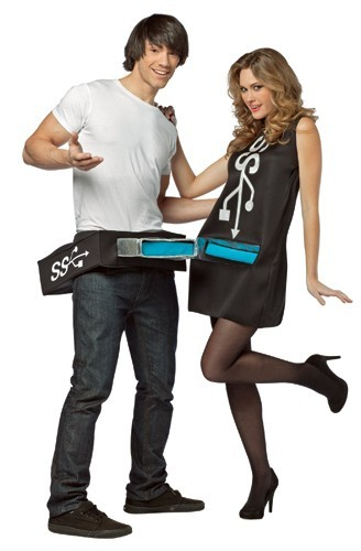 Adult USB Port and Stick Couples Costume