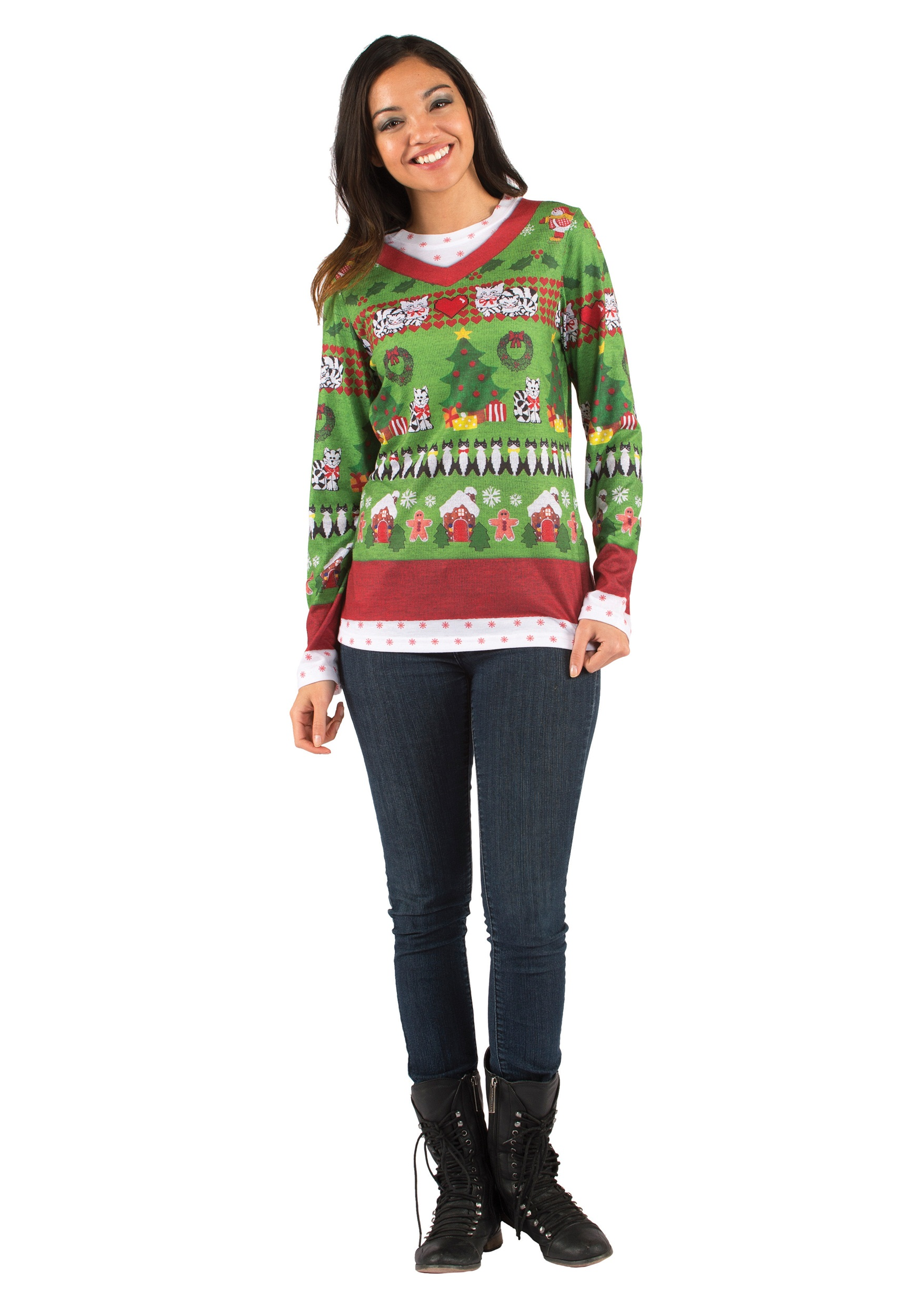 Adult Ugly Sweater Shirt with Cats