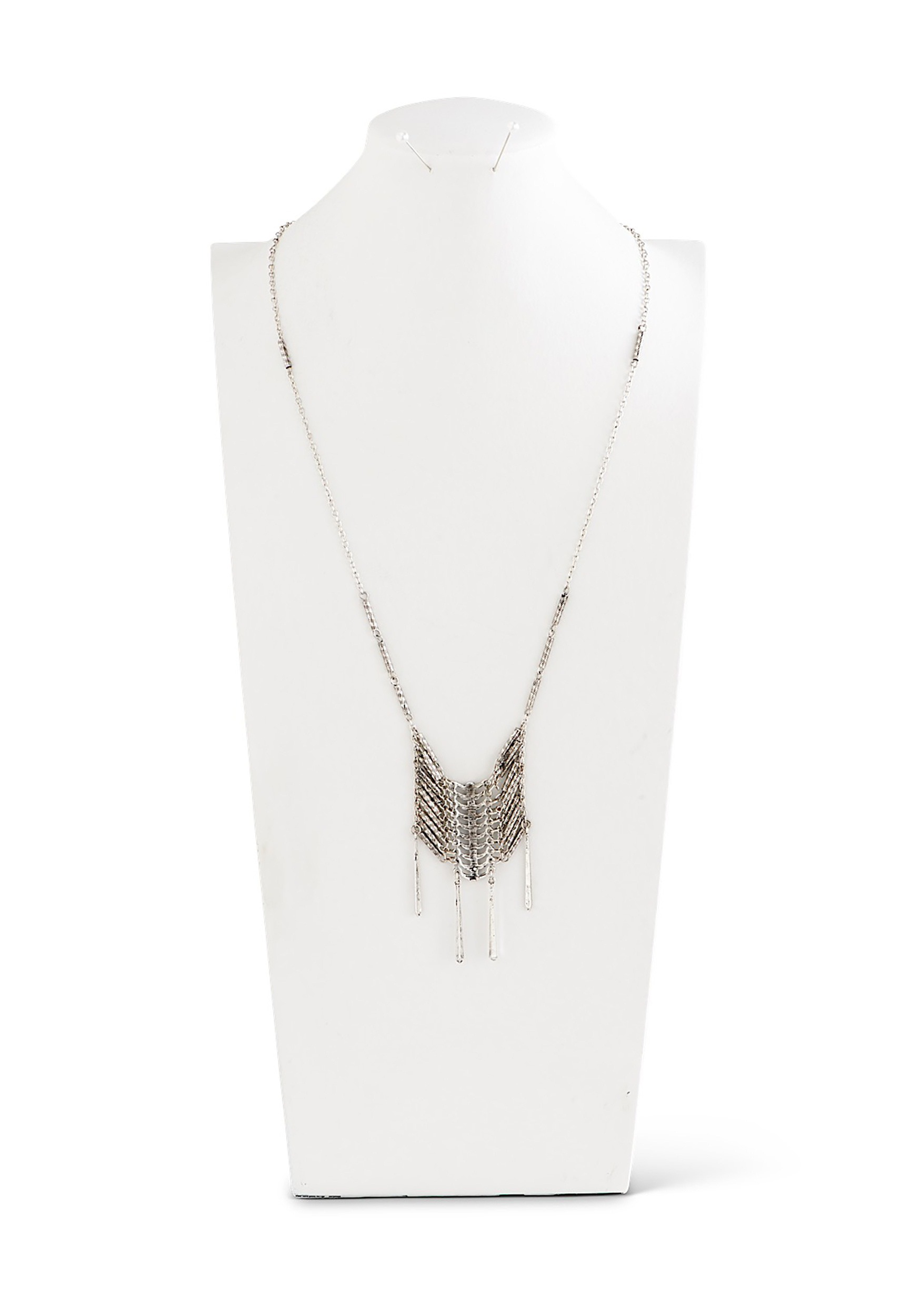 Antique Silver-Tone Aztec-Style Long Necklace