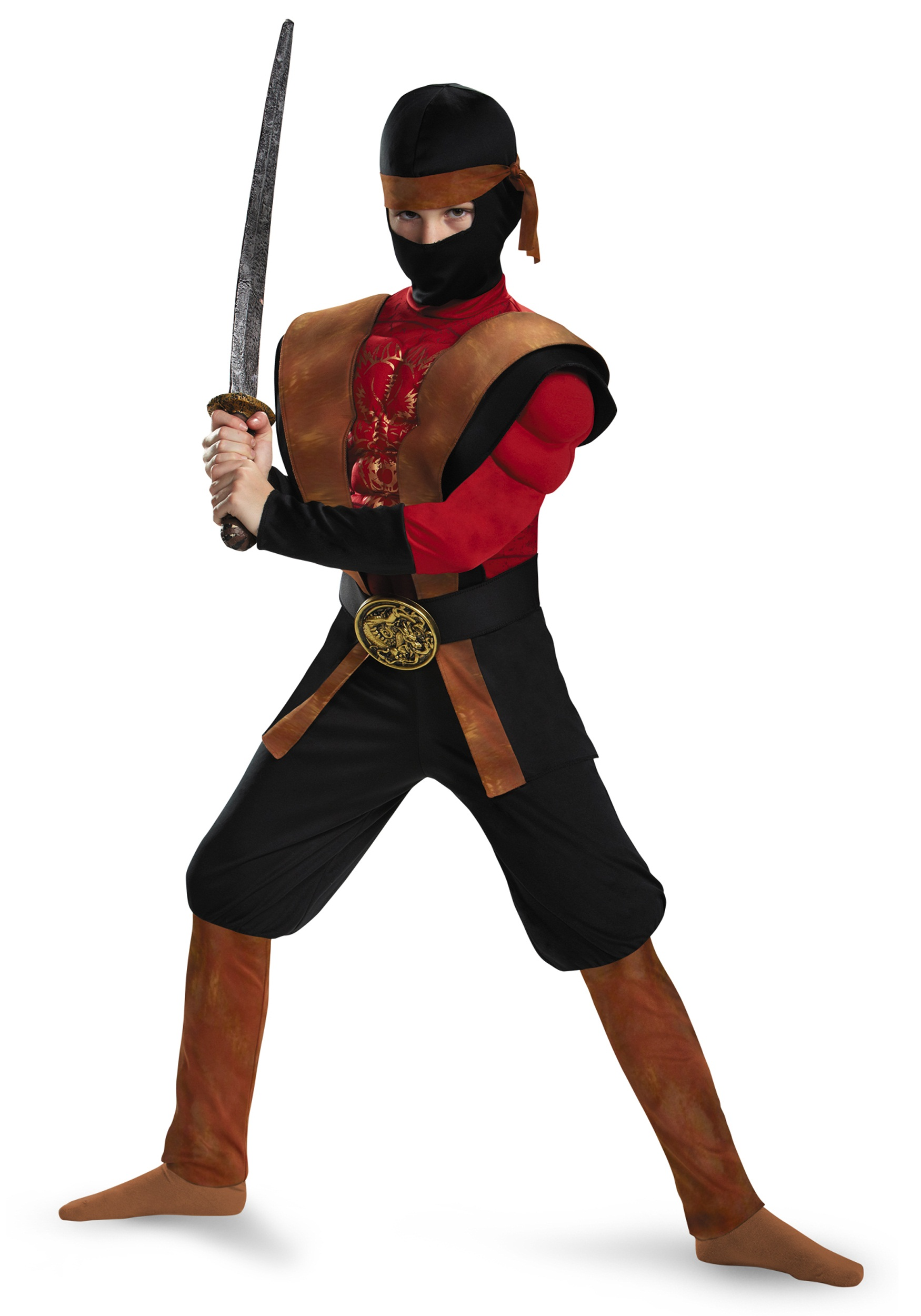 Boys Ninja Warrior Muscle Costume
