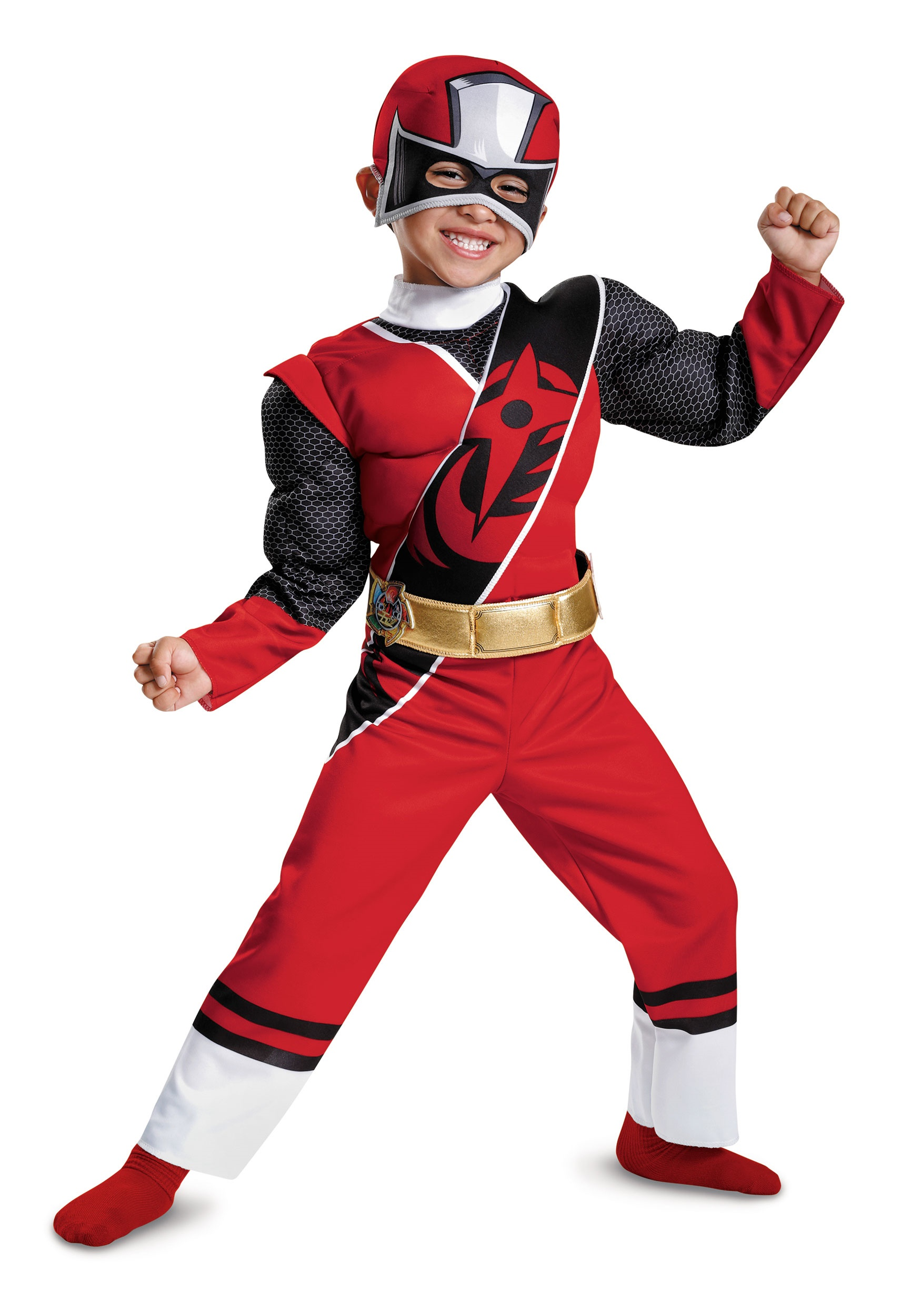 Boys Red Ranger Ninja Steel Toddler Muscle Costume