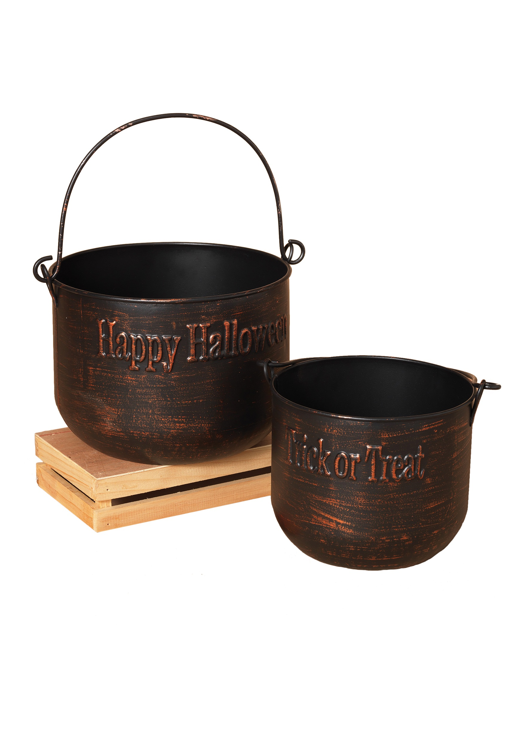Brushed Copper Metal Halloween Witch's Cauldron Set