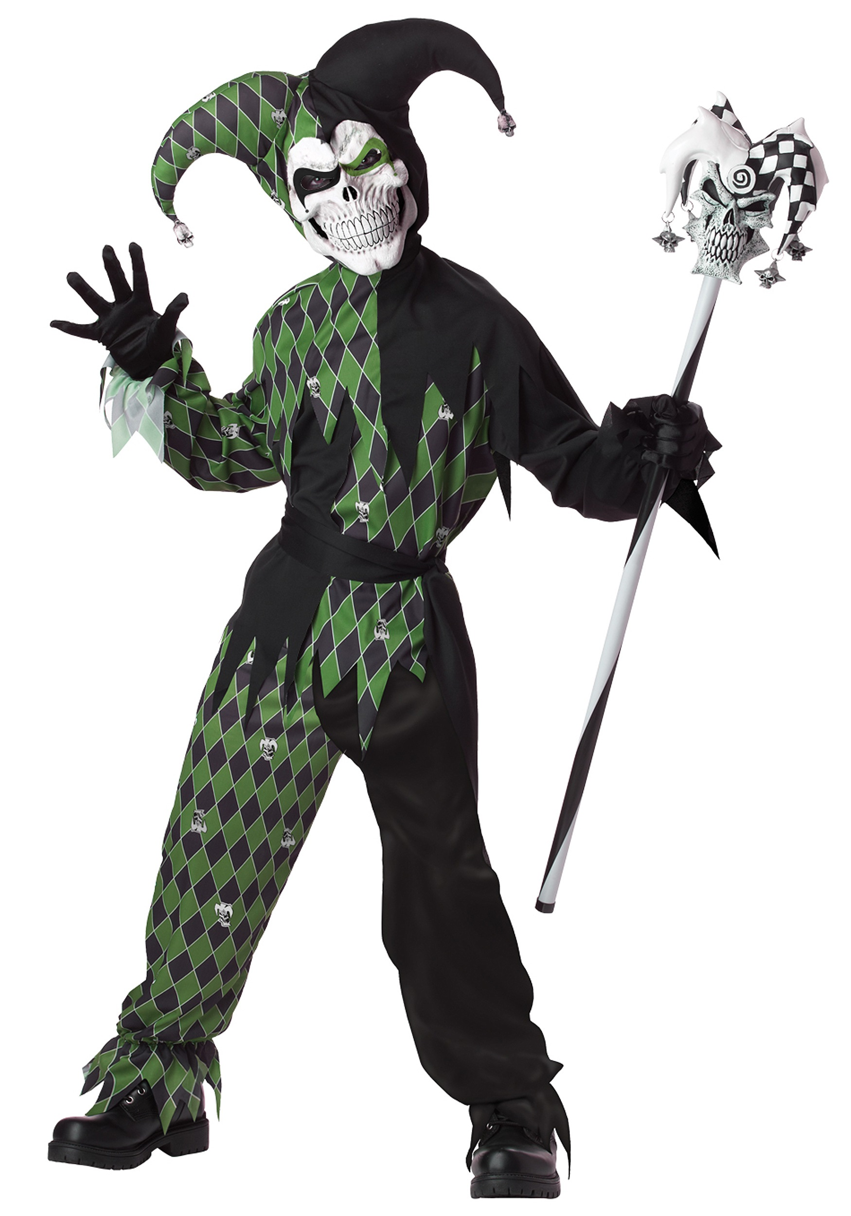 Child Green Scary Jester Costume