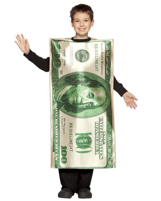 Child Hundred Dollar Bill Costume - 7-10
