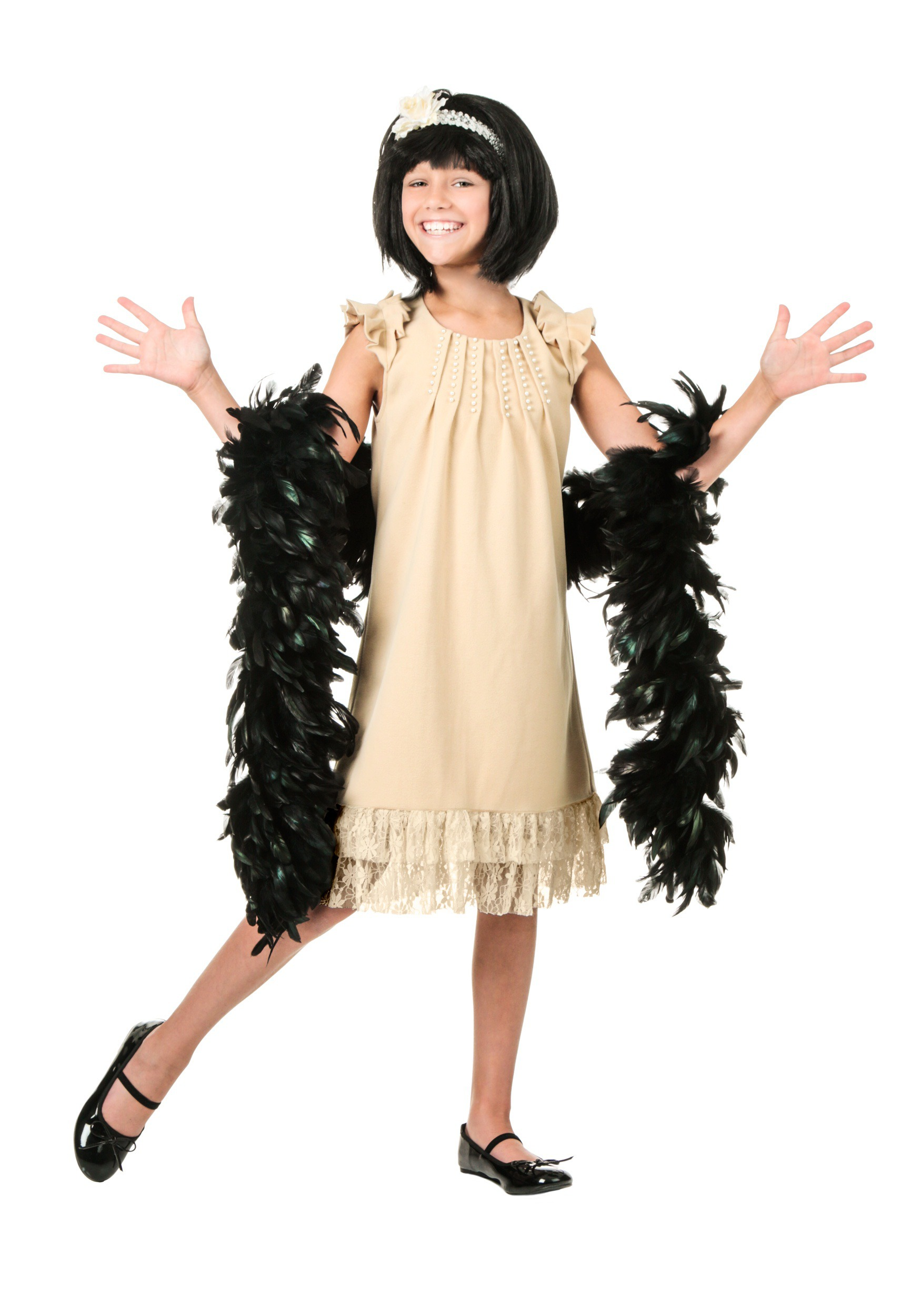 Child Pearl and Lace Flapper Costume