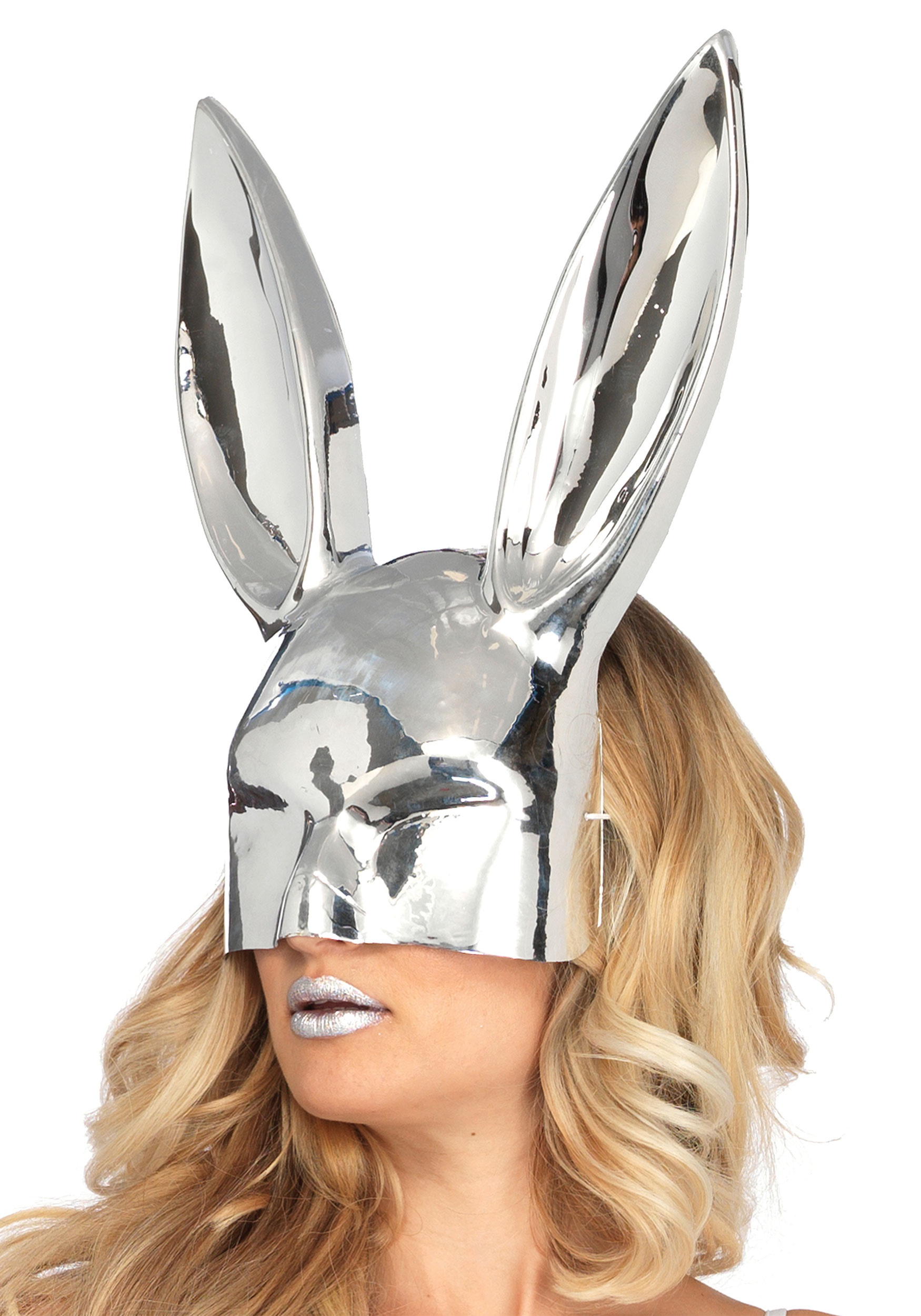 Chrome Silver See Thru Bunny Mask