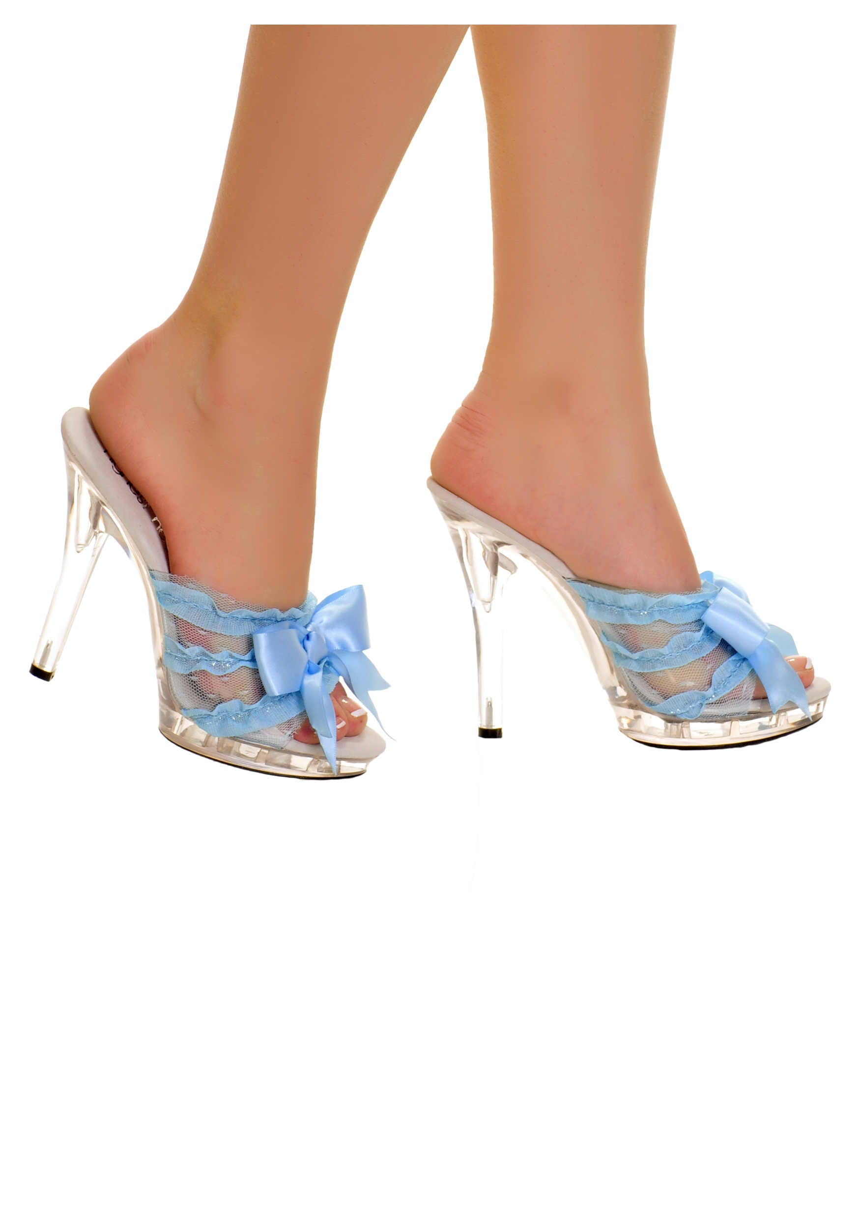 Clear Slip In Peep Toe Heels w/ Blue Ribbon