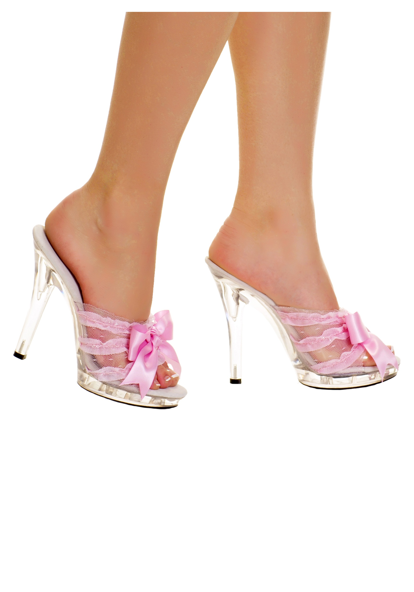 Clear Slip In Peep Toe Heels w/ Pink Ribbon