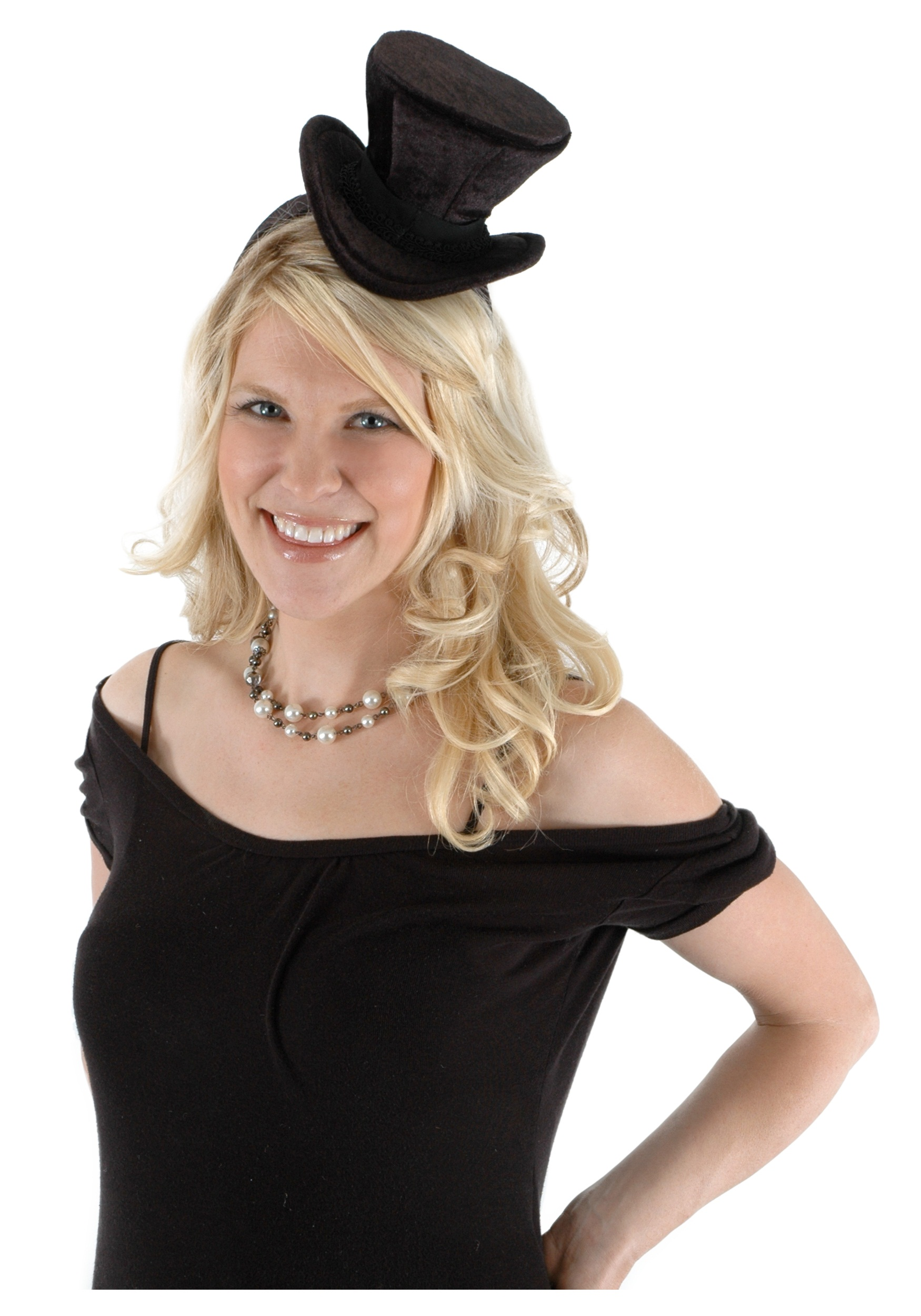 Cocktail Top Hat Headband Black
