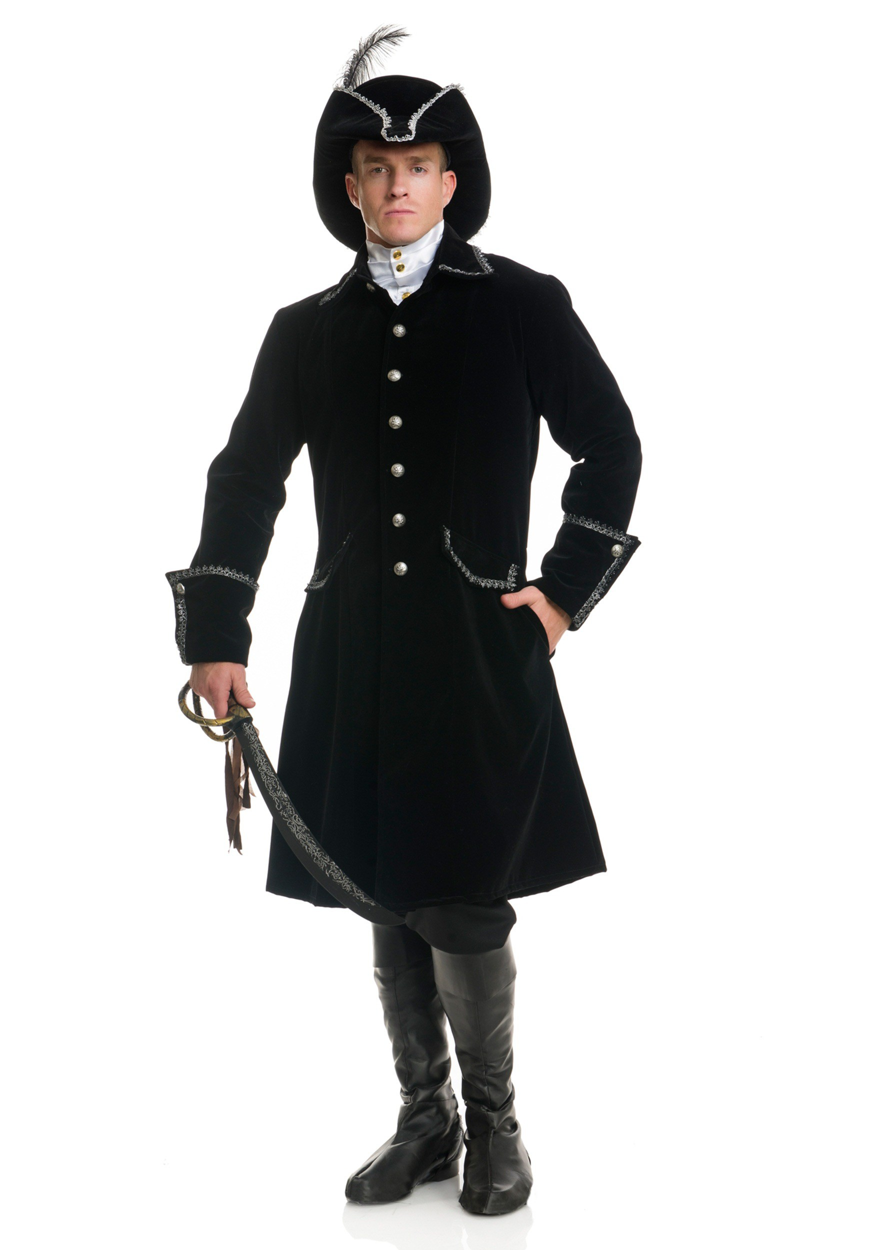 Deluxe Black Pirate Jacket with Pockets