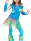 Girls Blue Monster Costume
