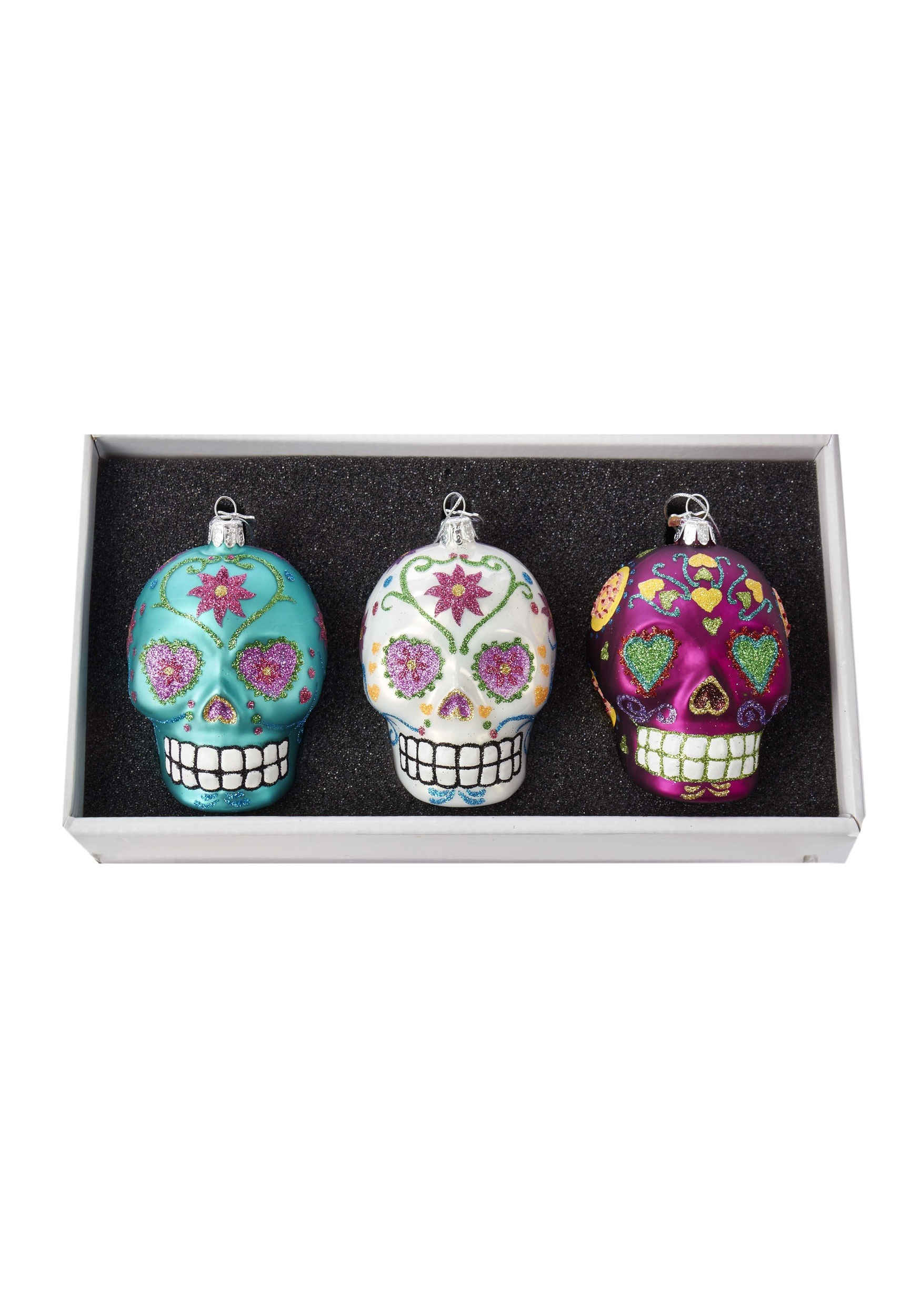 Glass Sugar Skull Ornament 3pc Box Set