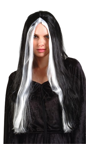 Long Black Wig w/ White Stripes