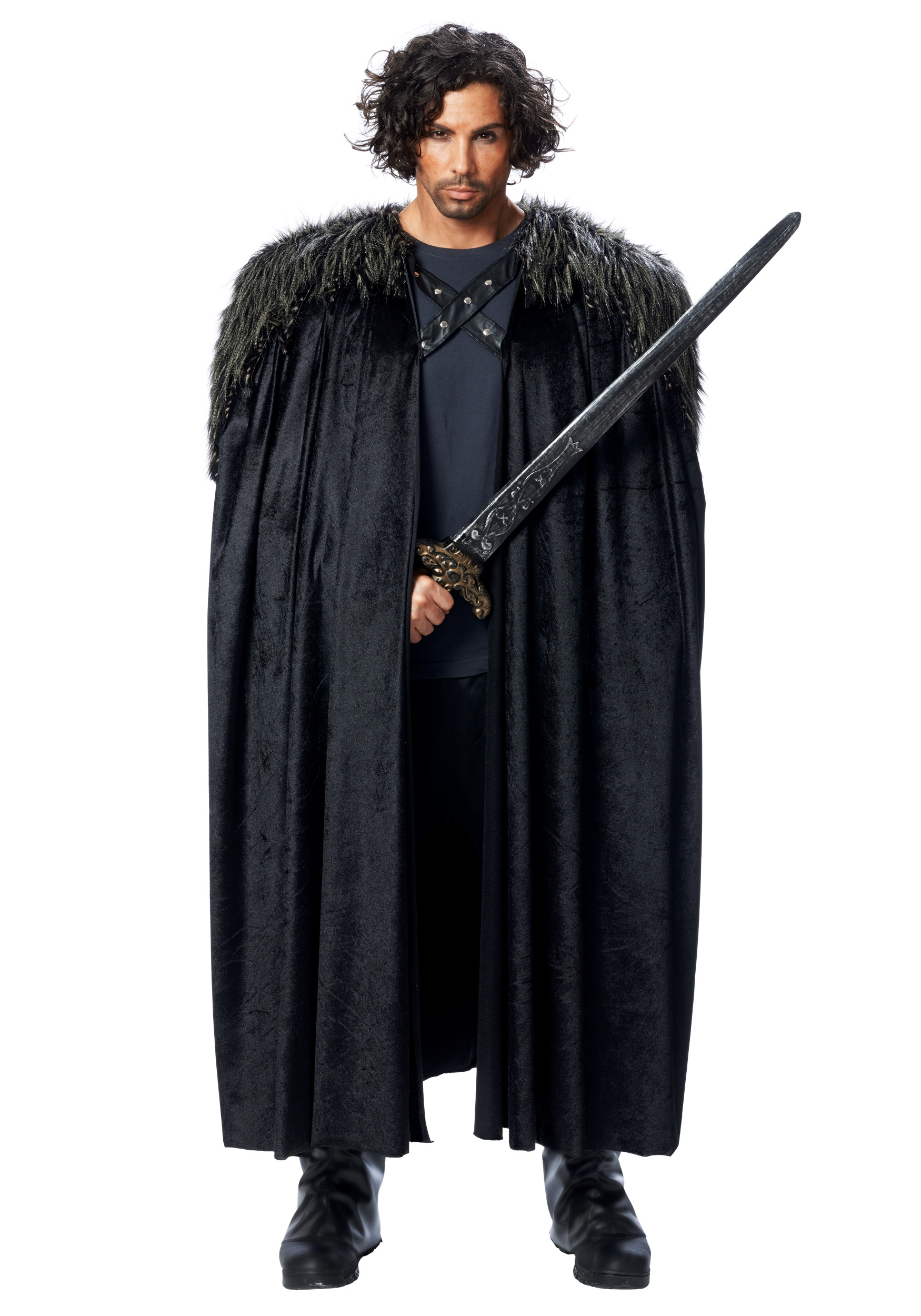Medieval Fur Trimmed Black Cape