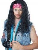 Mens Black 80's Rocker Wig