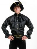 Mens Black Satin Ruffle Shirt