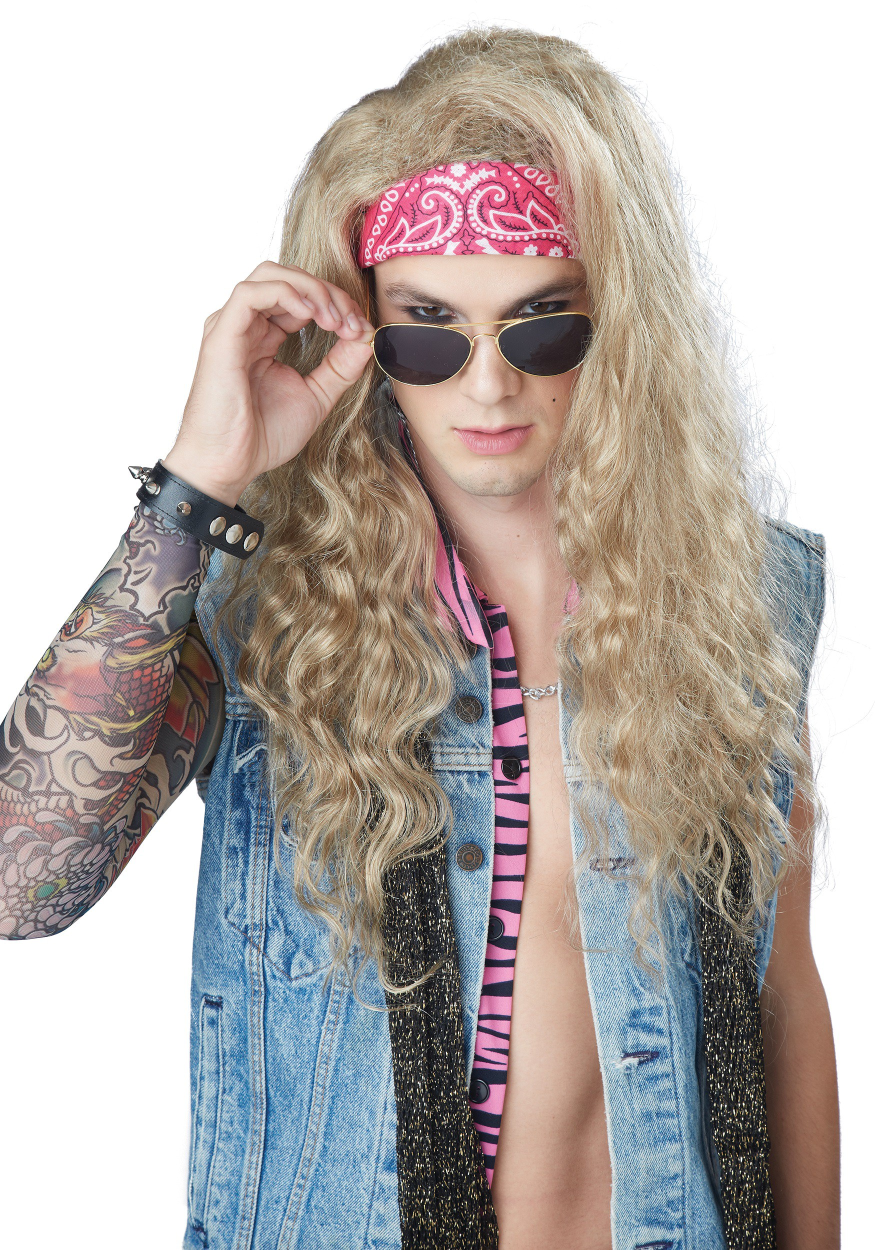 Men's Blonde 80's Rocker Wig