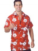 Men's Plus Size Red Hawaiian Shirt