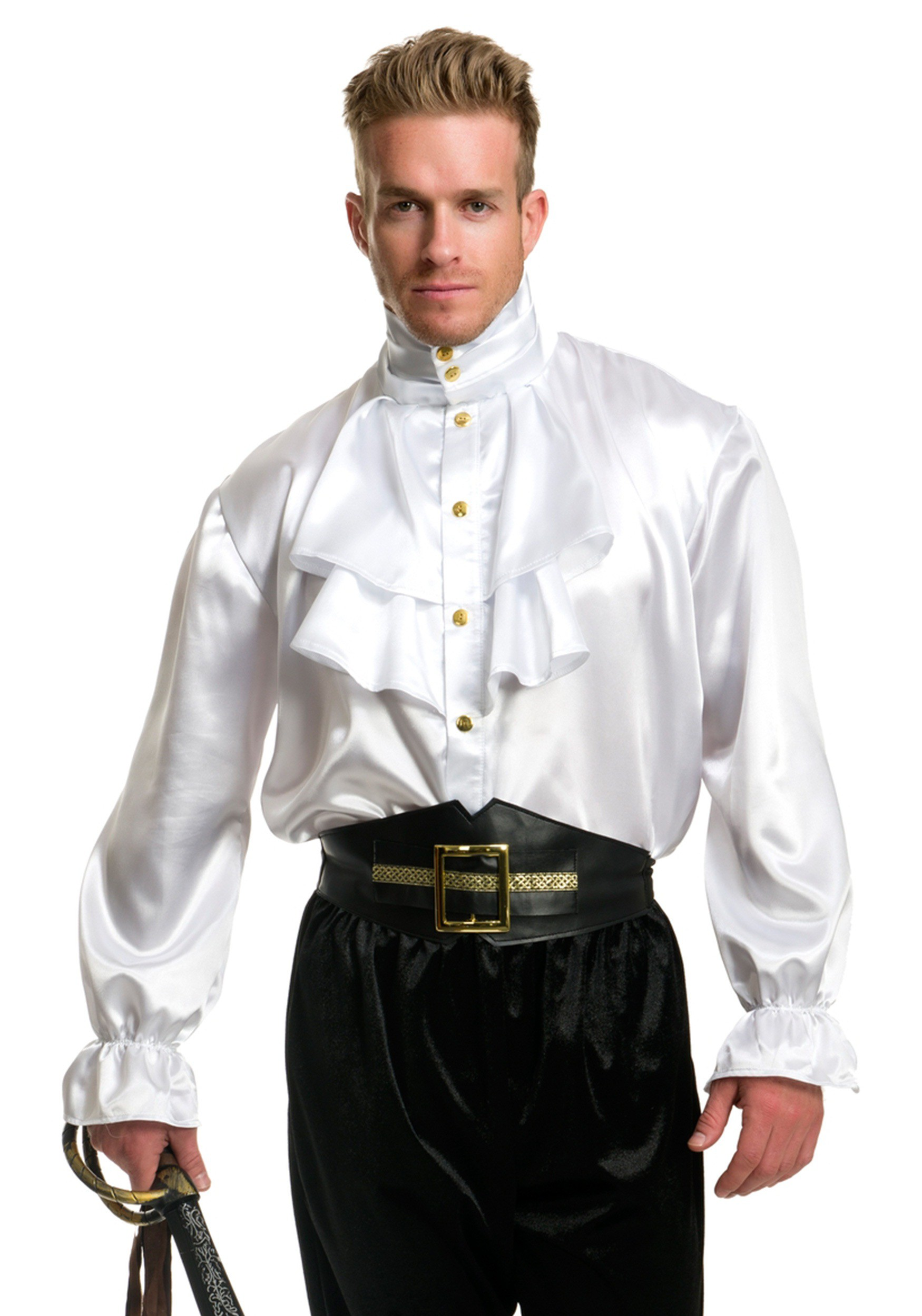 Mens White Satin Ruffle Shirt