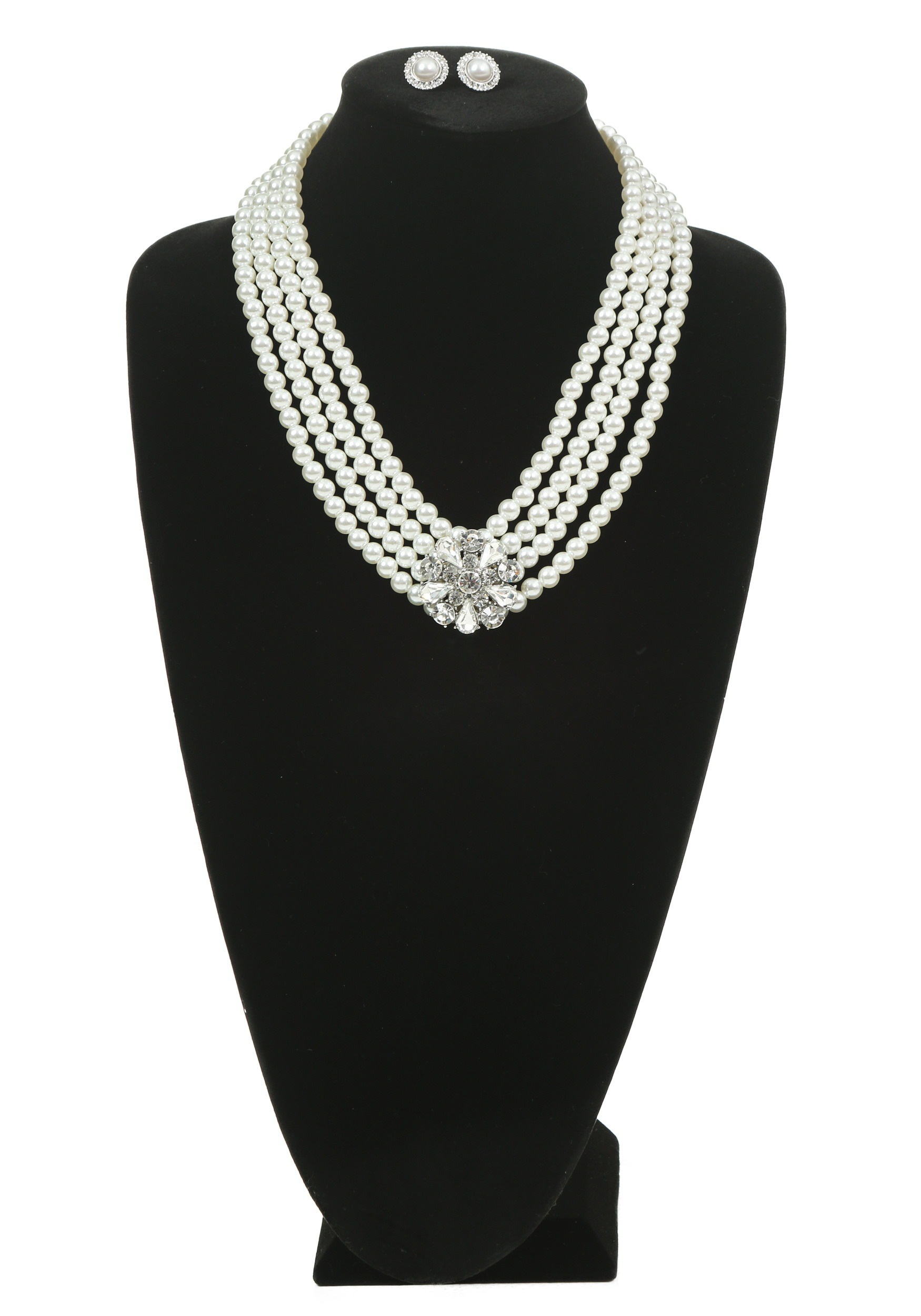 Pearl and Brooch Necklace and Earring Set