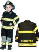 Personalized Child Fire Fighter Costume - Black