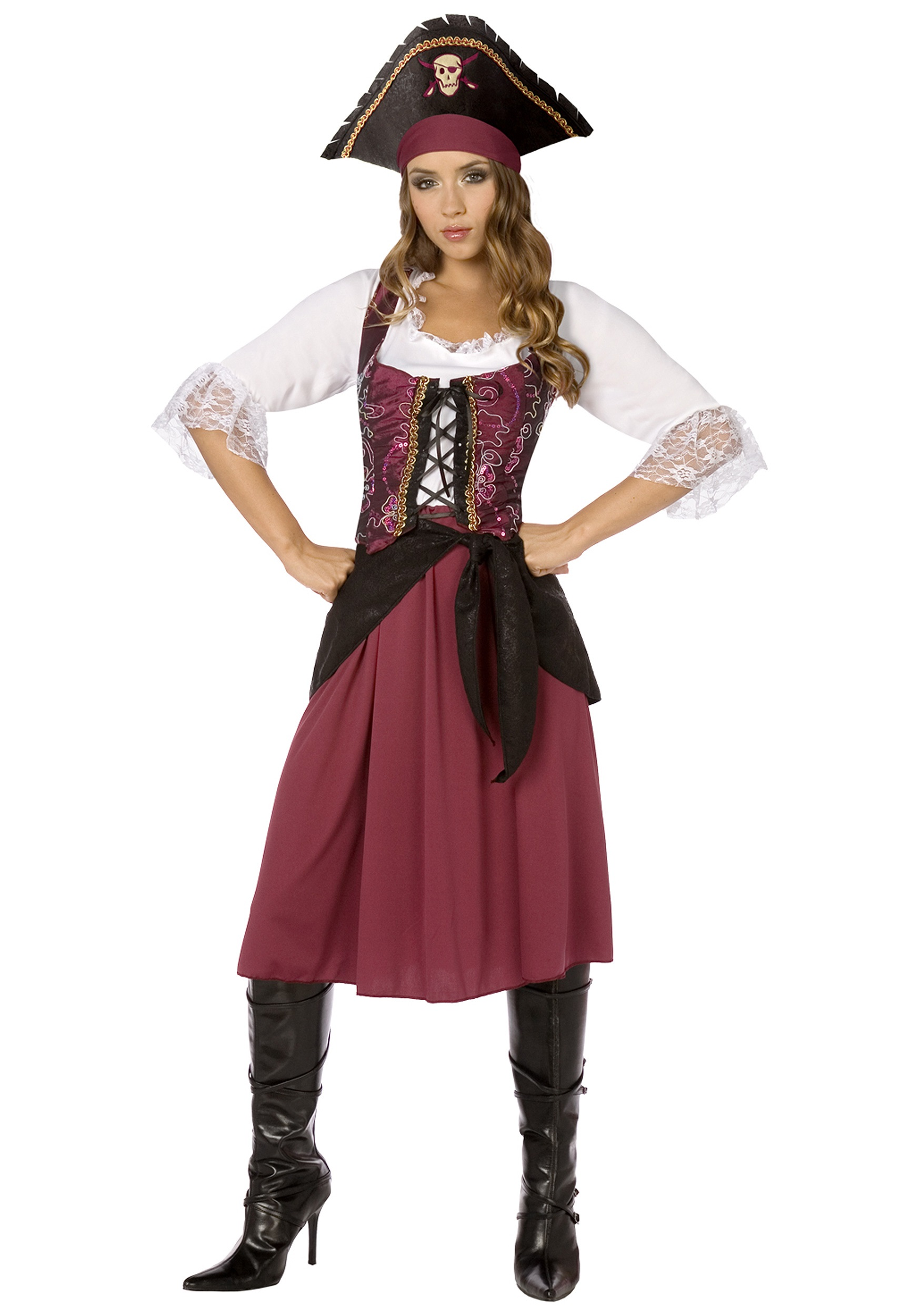 Plus Size Burgundy Pirate Wench Costume
