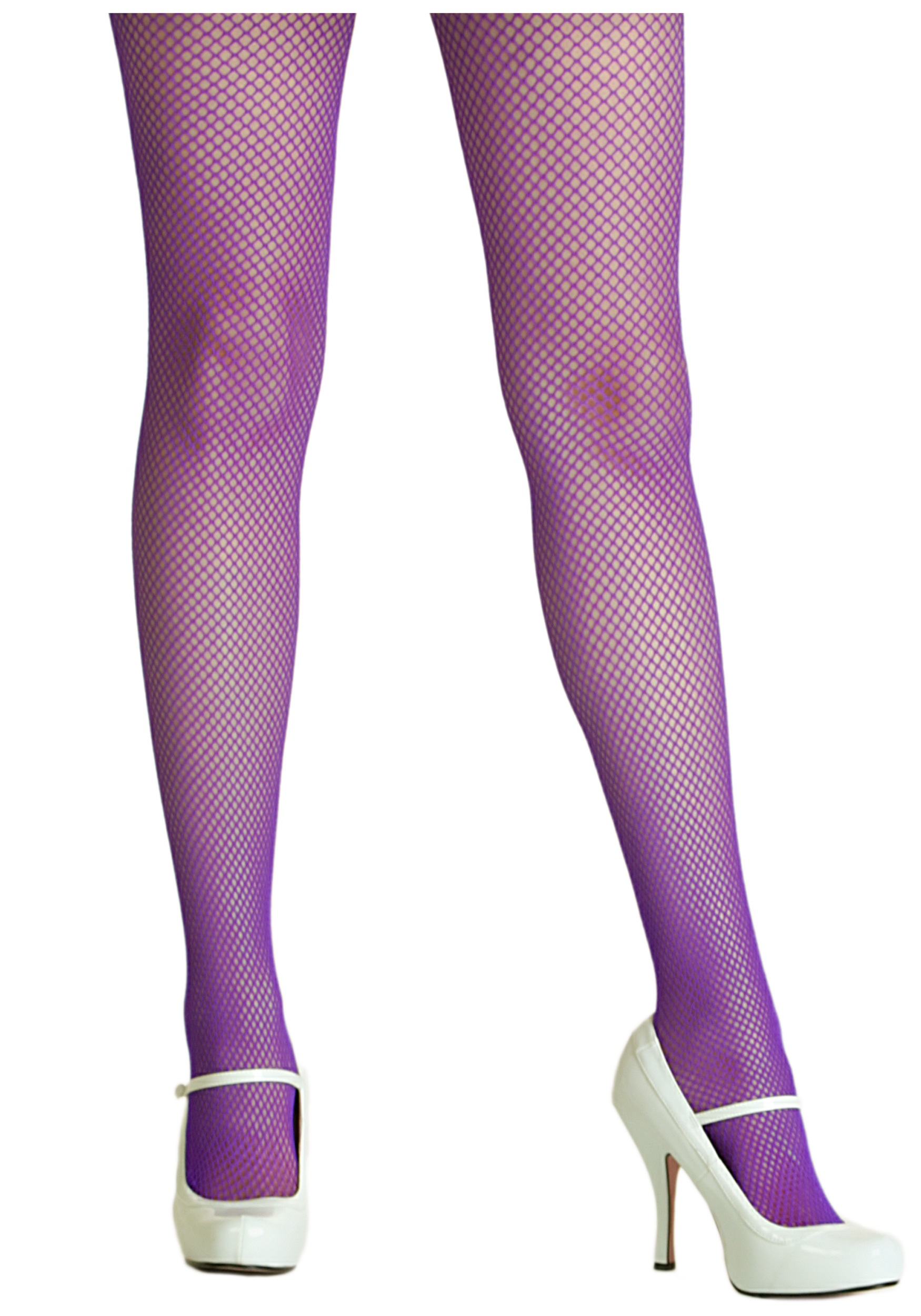 Purple Spandex Fishnet Tights