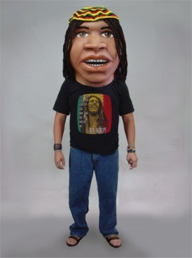 Rasta Man Mascot Head