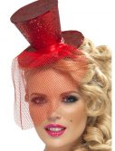 Red Glitter Mini Top Hat