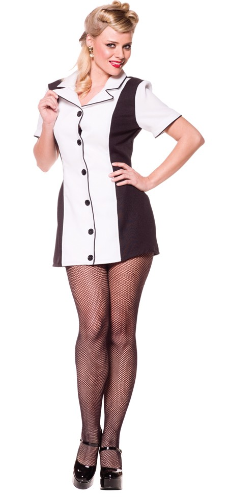 Sexy Bowling Dress Costume - Black/White