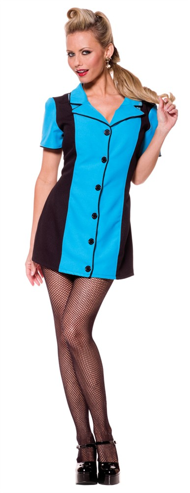 Sexy Bowling Dress Costume - Turquoise